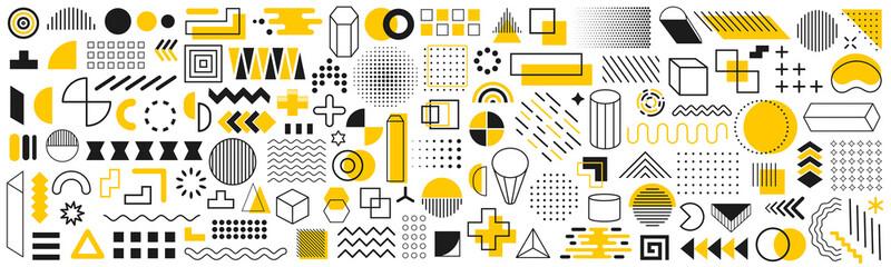 Fototapeta Set of geometric shapes. Memphis design retro elements. Collection trendy halftone geometric shapes. Retro funky graphic, 90s trends designs and vintage print element collection – vector obraz