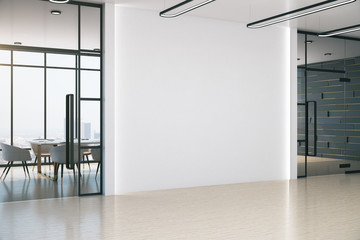 Modern meeting office with blank white wall