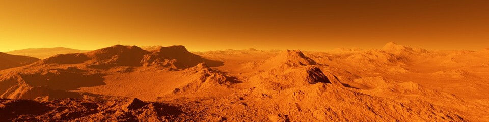 Self adhesive Wall Murals Orange Glow Wide panorama of mars - the red planet - landscape with mountains and impact crater during sunrise or sunset