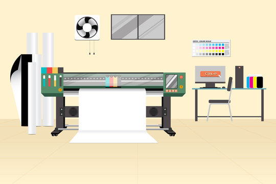 Large format or Wide format printer with media in room. Flat vector design of advertising industrial machine. Editable by layers.