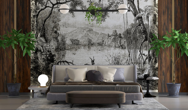 Luxurious bedroom design, classic vintage wallpaper decoration, wooden cutters, lights and decorative plants