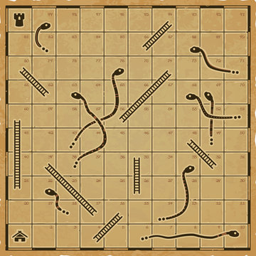 Snakes and ladders board in a retro traditional style on a worn parchment paper.