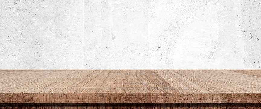 Wood table and white wall background in kitchen, Wooden shelf, counter for food and product display in room background, Wood table top, desk surface banner, mockup, template