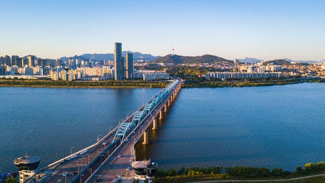 Aerial View of Seoul City Skyline,South Korea.