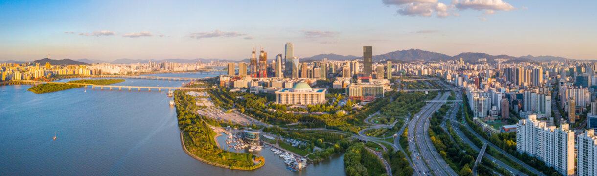 Panorama  Aerial view of Seoul city Skyline,South Korea.