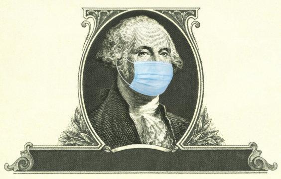 George Washington on a dollar bill wearing a medical face mask due to the coronavirus