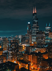 Papiers peints Chicago Downtown chicago cityscape skyscrapers skyline at night