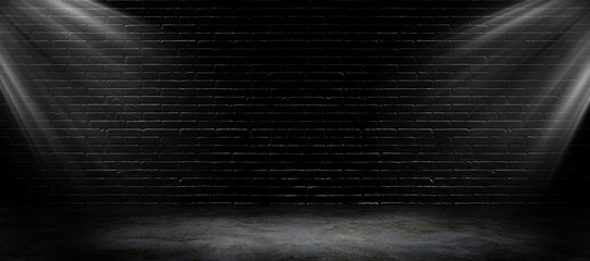 Empty space of Studio dark room black brick wall and spotlight with concrete floor.