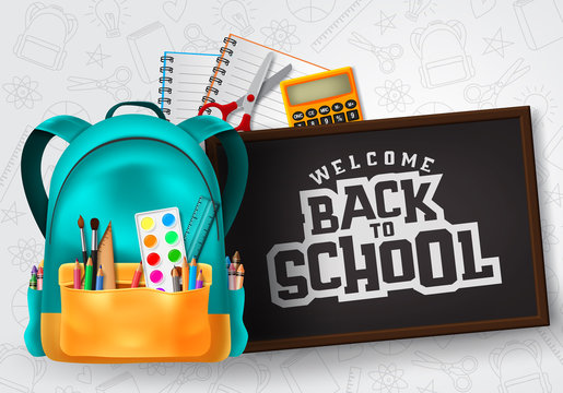 Welcome back to school vector concept design. Welcome back to school typography in chalkboard space for text with school supplies and education elements in patterned background. Vector illustration.