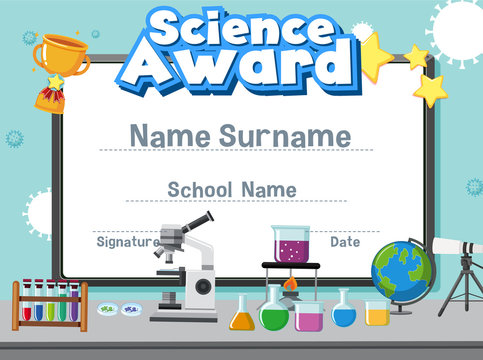 Certificate template for science award with kid in the lab background