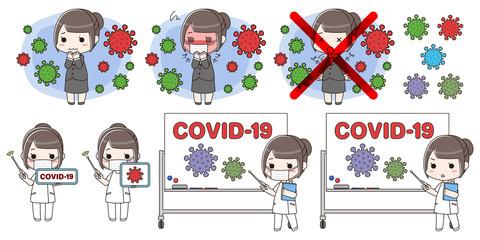 新型コロナウイルスCOVID-19(イメージ)のセット