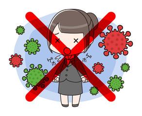 新型コロナウイルスCOVID-19(イメージ)に囲まれ、咳エチケットを守っていないスーツ女性