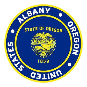 Round Albany Oregon United States Flag Clipart 3