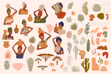 Collection of abstract African women portraits, ceramic vase, jugs, bowls, tropical plants, palm leaf, cactus, animal silhouette, abstract hand draw shapes. Editable vector illustration.