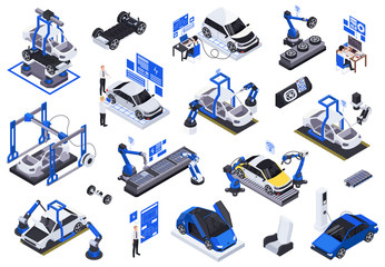 Electric Vehicles Production Icons