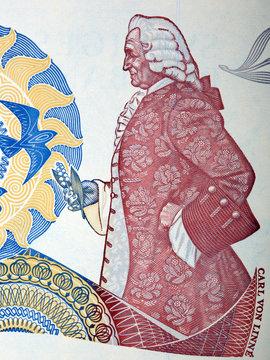 Carl Linnaeus a portrait from Swedish money