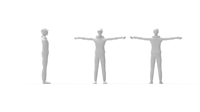 3D rendering of a boy human person character model arm spread