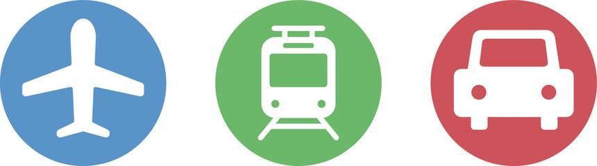 飛行機、車、電車のアイコンのセット/乗り物/交通機関 Fototapete