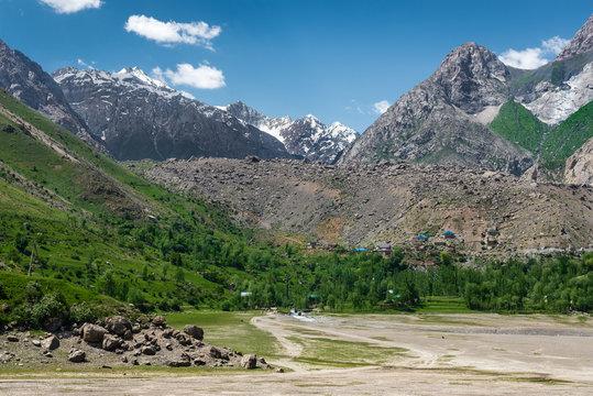 The beautiful seven lake trekking destination. View on the Fan Mountains in Tajikistan, Central Asia
