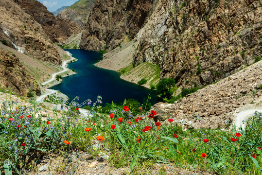 The beautiful seven lake trekking destination. View on the lake number one of the Fan Mountains in Tajikistan, Central Asia