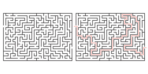 Labyrinth game. Maze or puzzle design. Find the way and right solution for exit. Vector illustration. Fotobehang