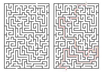 Labyrinth game. Maze or puzzle design. Find the way and right solution for exit. Vector illustration.