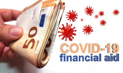 covid-19 coronavirus financial aid support help - 3d rendering