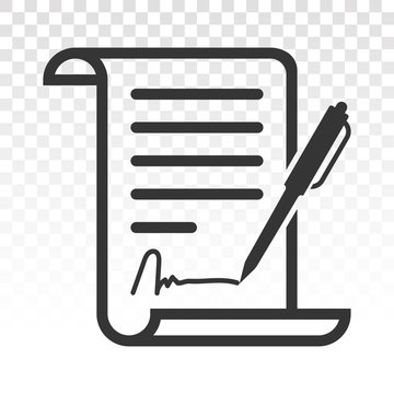 Pen signed a contract icons. line art icon for business applications and websites