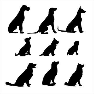 Nine Black Sitting Dog. Vector black illustration