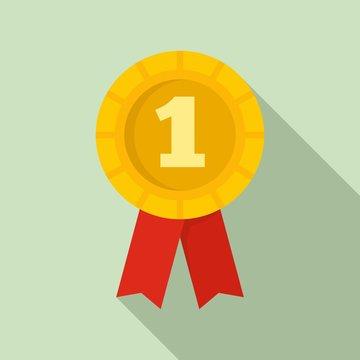 Dog first place emblem icon. Flat illustration of dog first place emblem vector icon for web design