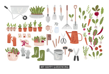 Concept of gardening. Garden tools. Colorful vector illustration