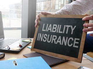 Business photo shows printed text liability insurance