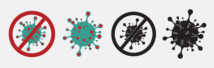 Coronavirus formula vector icons. Stop the coronavirus. Coronavirus 2019 nCov, Covid 19 NCP virus stop signs, health protection labels Fototapete