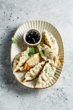 Korean mandu pork dumplings with soy sauce and cilantro. Top view
