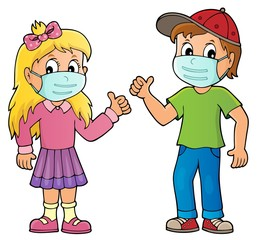 Children in medical masks theme image 1