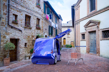 Autonomous delivery vehicles delivering food to residents on narrow city streets
