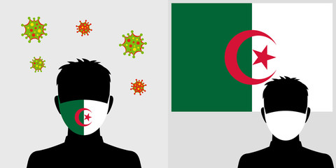 Man in protective face mask with algeria flag and virus icon