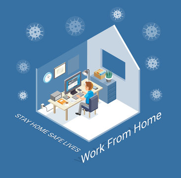 Work from home protection from virus concept isometric. Vector illustrations.