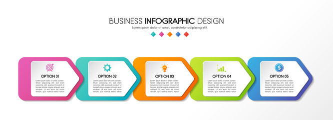 Infographic with 5 steps. Business diagram. Vector