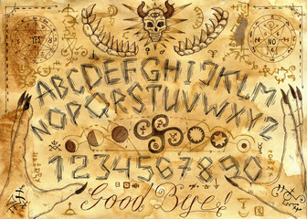 Ouija spiritual board design with alphabet, hands and magic seals on paper background