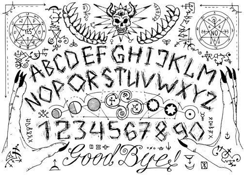Vector ouija spiritual board design with alphabet, magic seals, hands and alchemy signs.