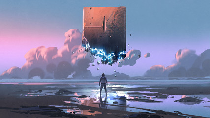 Keuken foto achterwand Grandfailure a man looking at the monolith that floating in the sky, digital art style, illustration painting