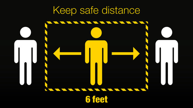 Stay 6 feet away Keep Your Distance Warning Sign Corona and COVID-19