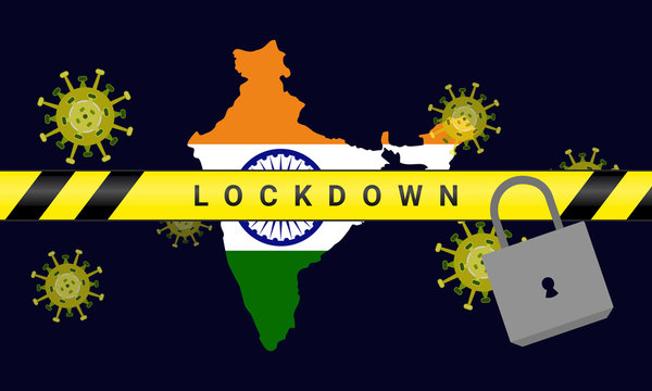 Illustration vector graphic of india Lockdown. Illustration of lockdown tape and padlock. Coronavirus outbreak. Prohibited from leaving the india country. vector illustration EPS10. covid-19.