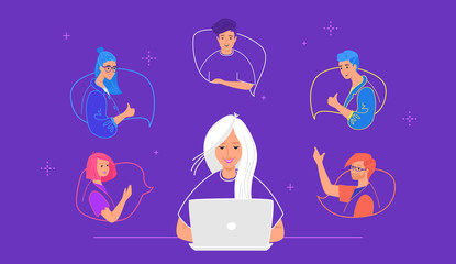 Webinar online conference and video streaming. Concept flat vector illustration of happy young woman sitting with laptop and connectiong to her friends for chatting, remote learning and storytelling