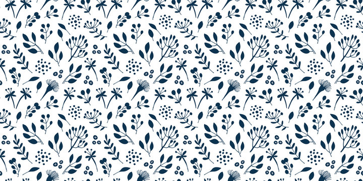 Flowers and branches seamless pattern, hand drawn vector floral background