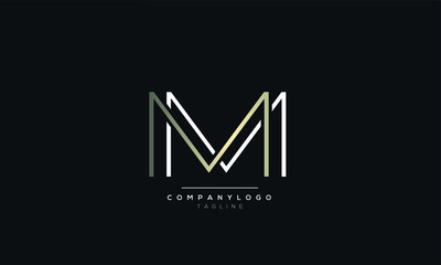 WW or MM M alphabet abstract initial letter logo design vector template