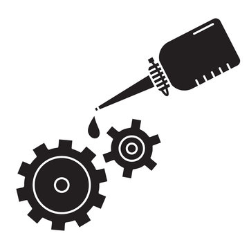Cutout silhouette Oiler with dripping drop of oil lubricating two spinning gears. Outline icon of motor oil. Black illustration. Flat isolated vector image on white background. Bottle grease mechanism