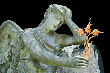 Fototapete - Sad angel with stone flower as symbol of death, pain and sorrow. Ancient statue.