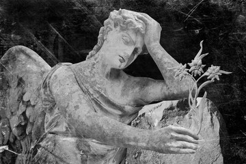 Fototapete - Retro styled image of sad angel with stone flower as symbol of death, pain and sorrow. Ancient statue.